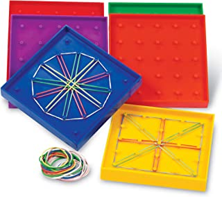 Learning Resources 5-Inch Double-Sided Assorted Geoboard Shapes, Set of 6 Boards, Ages 5+