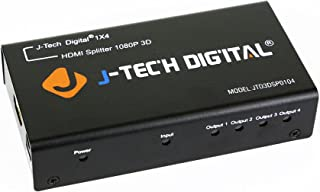 J-Tech Digital HDSP0104M TM 4 Ports HDMI 1x4 Powered Splitter Ver 1.3 Certified for Full HD 1080P with Deep Color & HD Aud...