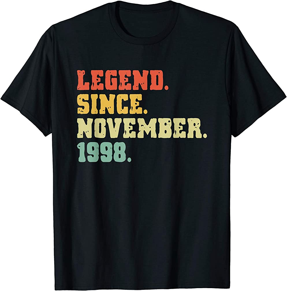 21st Birthday Gifts 21 Years Old Legend Since November 1998 T-shirt