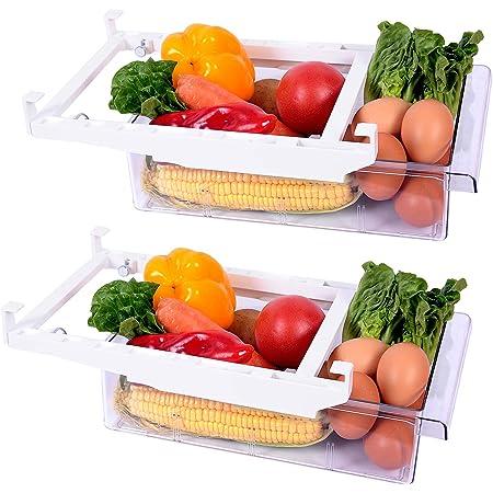 Guanniao Fridge Organizer Drawer Refrigerator Drawer Organizer Pull Out Plastic Fridge Storage Bins Containers for Fruit Vegetable (17.3inch-2Organizer)