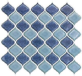 FAM STICKTILES Peel and Stick Wall Tile for Kitchen Backsplash-Light Blue Arabesque Tile Backsplash(4 Sheets)