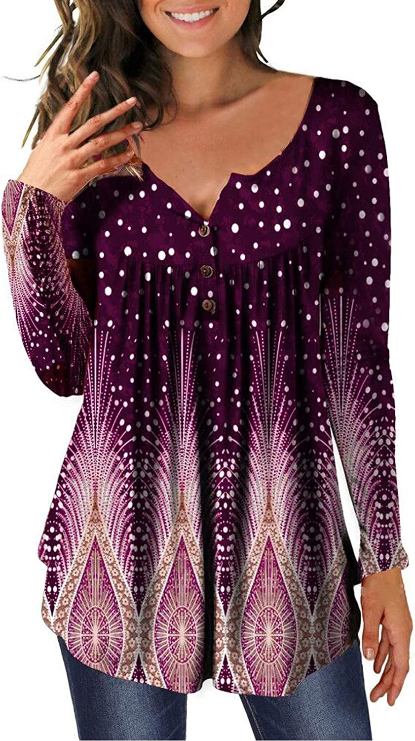 free HTDBKDBK Tops for Women Sale Fashion Casual Henl Sleeve Printing Long