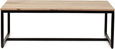 Christopher Knight Home Stanley Modern Industrial Acacia Wood Coffee Table, Natural, Black