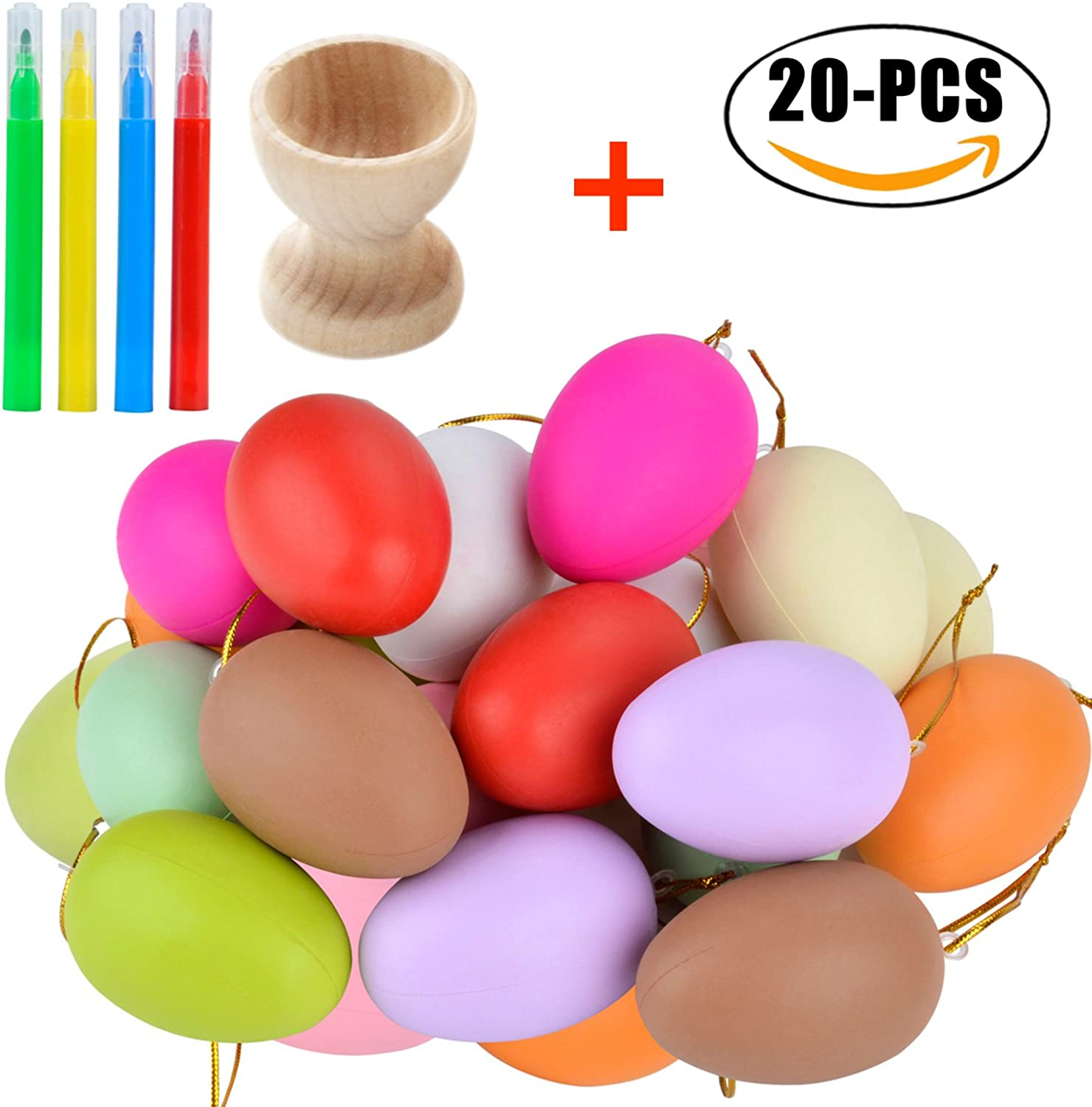 Funpa 20PCS DIY Egg Toy Simulation Artificial Egg Kids Paint Toy with Egg Cup and 4PCS Paint Pens
