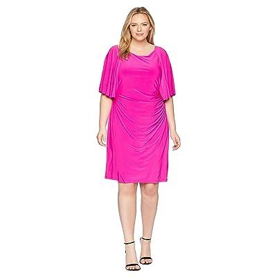 LAUREN Ralph Lauren Plus Size 1T Matte Jersey Jessup 3/4 Sleeve Day Dress (Paradise Pink) Women