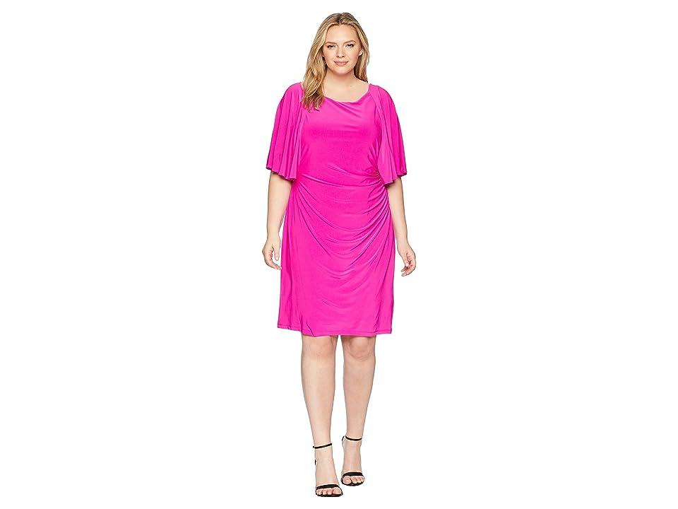 2fb833771cc LAUREN Ralph Lauren Plus Size 1T Matte Jersey Jessup 3 4 Sleeve Day Dress  (Paradise Pink) Women s Dress