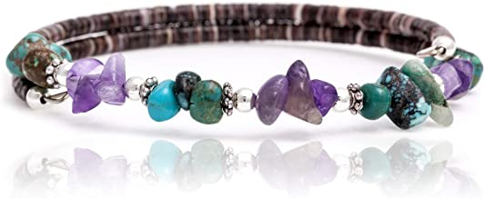 $80 Tag Certified Authentic Navajo Native American Natural Turquoise Amethyst Adjustable Wrap Bracelet