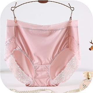 High Waist Lace Plus Size Panties Women Milk Silk Big Size Briefs Intimates Underwear Black Pink 2XL 3XL 4XL