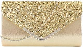 OneMoreT Damen-Clutch mit Glitzer, silberfarben, für Hochzeit, Abendveranstaltung, Party, Abschlussball, Kette Clutch gold
