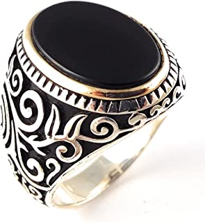 Unique Special Design 925 Sterling Silver Turkish Handmade Ottoman Onyx Stone Men's Luxury Ring All Sizes