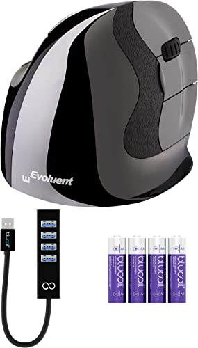 new arrival Evoluent VMDMW VerticalMouse D Medium Right Hand outlet sale Ergonomic Mouse with Wireless USB Receiver Bundle with Blucoil 4 AA Batteries, and USB Type-A Mini Hub with high quality 4 USB Ports online