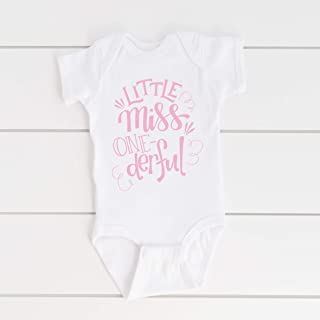 LIttle Miss Onederful 1st Birthday Outfit - One Girls First Birth Day T-Shirt Party Gift - 12M or 18M White Pink