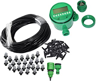 82FT Mist Cooling System with Timer with 25PCS Plastic Mist Nozzles for Outdoor Lawn Patio Garden Greenhouse