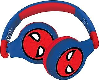 Lexibook HPBT010SP Spiderman 2-i-1 Bluetooth-hörlurar för barn stereo trådlös sladd, barnsäker för pojkar flickor, vikbar,...
