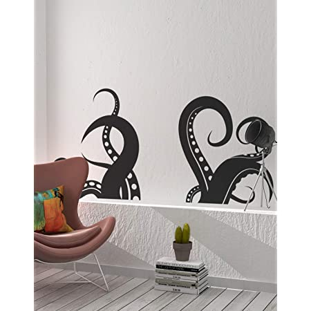 """Giant Octopus Tentacles Wall Decal Sticker - Black, 27"""" x 60"""". Great for Living Room, Bathroom or Bedroom Decor. #OS_MB316"""
