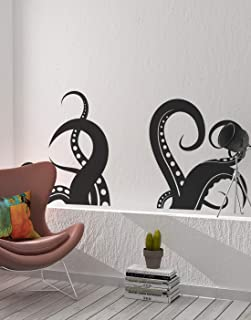 Giant Octopus Tentacles Wall Decal Sticker - Black, 27