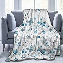 Merry Christmas,Christmas Blankets,Microfiber Blanket,House Decor Collection,Snowflakes Flowers and Butterflies Christmas Snowy Wintertime Stylization Image,Navy Blue Teal White-(72