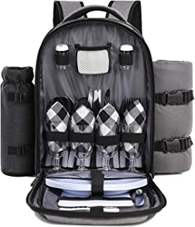 TAIBID Picnic Backpack for 4 Person Set with Insulated Compartment,Detachable Wine Holder, Fleece Blanket, Plates and Cutl...