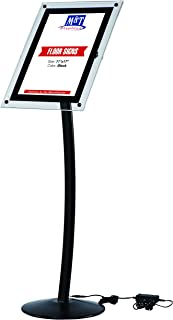 11x17 Curved LED Light Up Menu Sign Stand for Floor with Clear Acrylic, Landscape & Portrait - Black, Advertising Illuminated Display