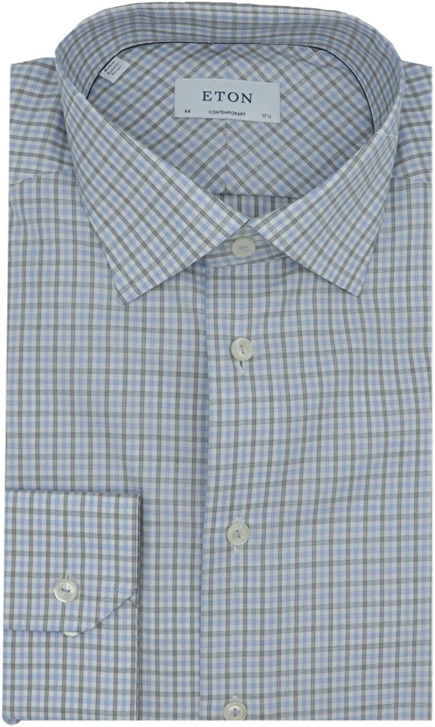 Eton Men's Blue and Black Contemporary Fit Checked Cotton-Tencel Shirt Casual Button-Down - 44-17.5 (XL)