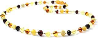Baltic Amber Necklace for Adults - Size 17.5-23.5 inches (45-60 cm) - Suitable for Women and Men - Polished Cognac Amber Beads - BoutiqueAmber