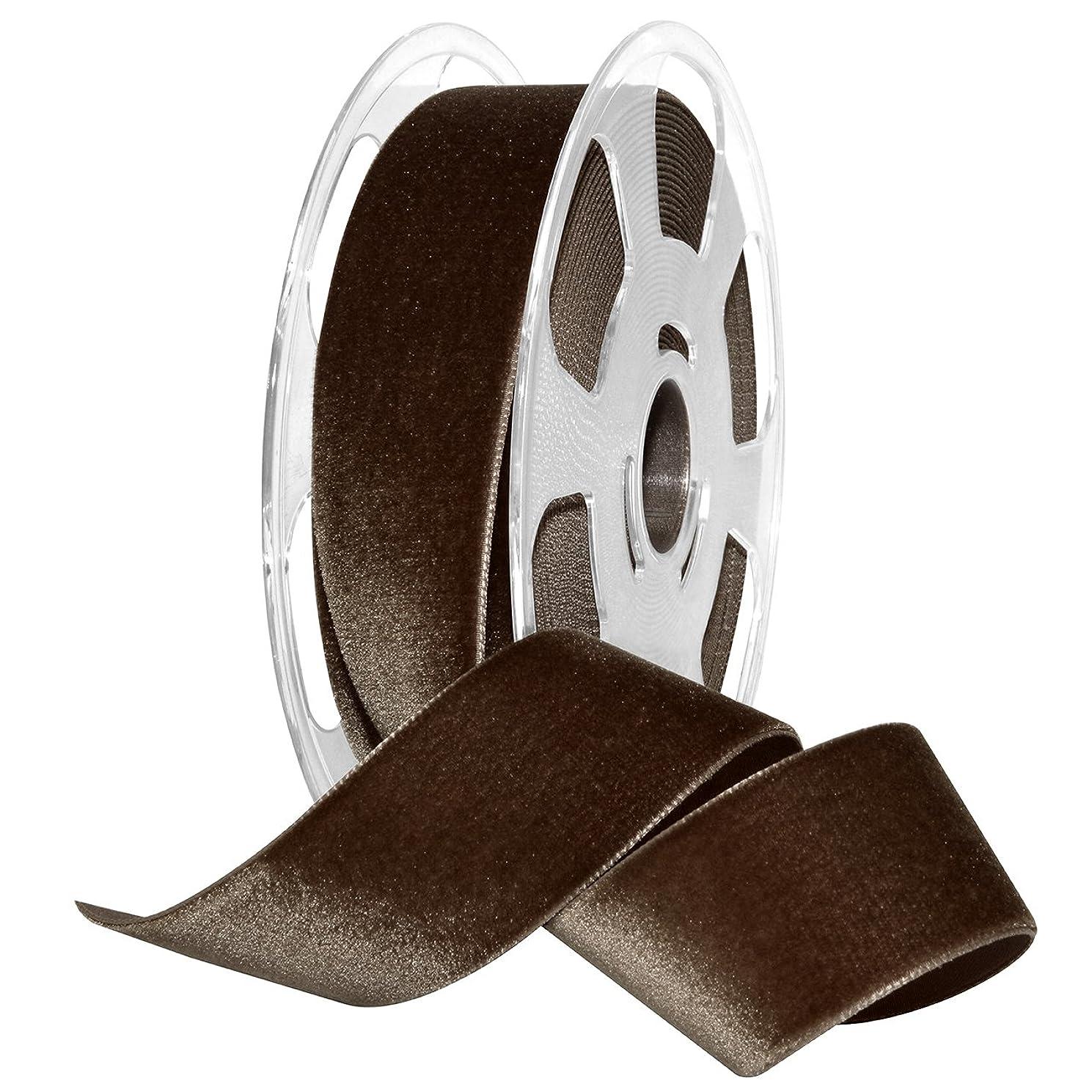 Morex Ribbon Nylon, 1 1/2 inches by 11 Yards, Espresso, Item 01240/10-539 Nylvalour Velvet Ribbon 1 1/2