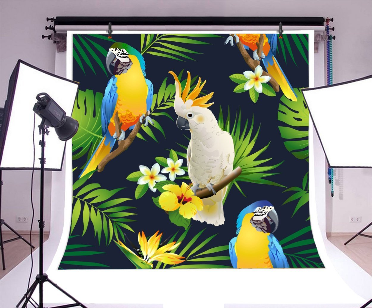 7x10 FT Plant Vinyl Photography Backdrop,Bird of Paradise Palm Leaf and Assorted Exotic Flowers Watercolor Background for Baby Birthday Party Wedding Graduation Home Decoration