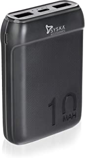Syska 10000 mAh Li-Polymer P1016B Power Pocket100 Power Bank(Black)