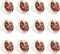 """12 Pack Ronde Keukenkast Knoppen Trekt (1-37/100"""" Diameter) - Aquarel Tulpen Bloem Mooi - Dressoir Lade/Deur Hardware - DI..."""