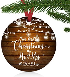 ZUNON 2019 Our First Christmas as Mr. and Mrs, Personalized Ornament Married Wedding Decoration 3