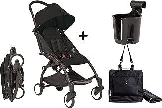 Babyzen YoYo+ Stroller Bundle (Yoyo+ Stroller Frame in White, 6+ Color Pack, Cup Holder & Travel Bag in Black) (Black/Black)