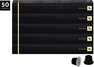 Nespresso Ristretto OriginalLine Capsules, 50 Count Espresso Pods, Intensity 10 Blend, Strong Roast South American & East African Arabica Coffee Flavors