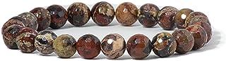 سوار خرز من احجار كريمة طبيعية شبه ثمينة قابل للتمدد من شيري تري كوليكشن، خرز دائري 8 ملم، طول 7 انش