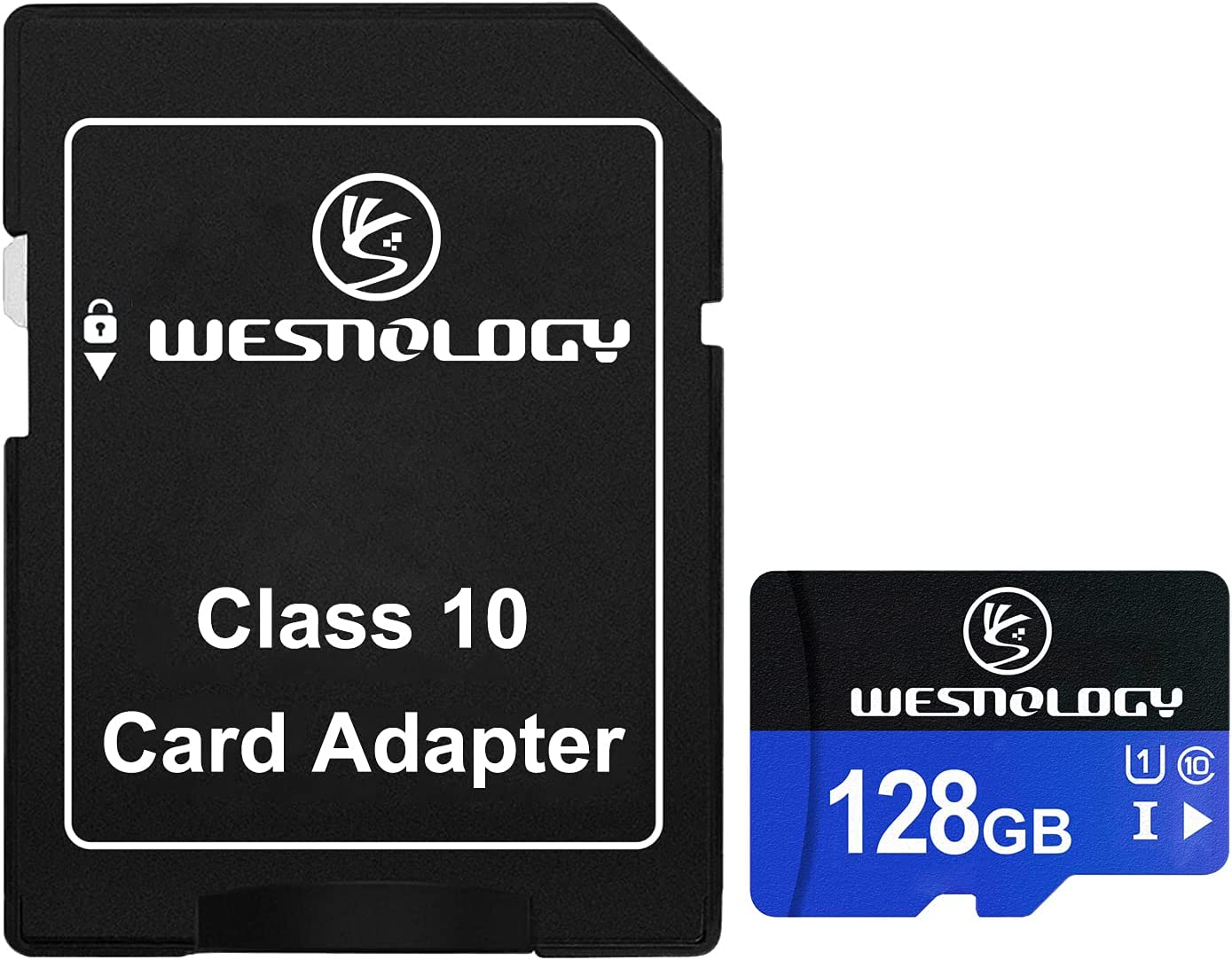 TF Card 128GB, Wesnology Memory Cards Class 10 TF Card with Adapter, High Speed Memory Card for Phone Camera Computer, Black/Blue