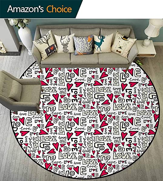Love Round Rug Kid Carpet Graffiti Style Love Word With Hearts Couple Date Romantic Feelings Theme Home Decor Foor Carpet Diameter 71 Inch Magenta Ivory Pale Green