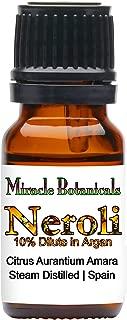 Miracle Botanicals Neroli Essential Oil 10% Dilute - Fine Quality Medicinal Grade Citrus Aurantium Amara in Golden Argan - 10ml
