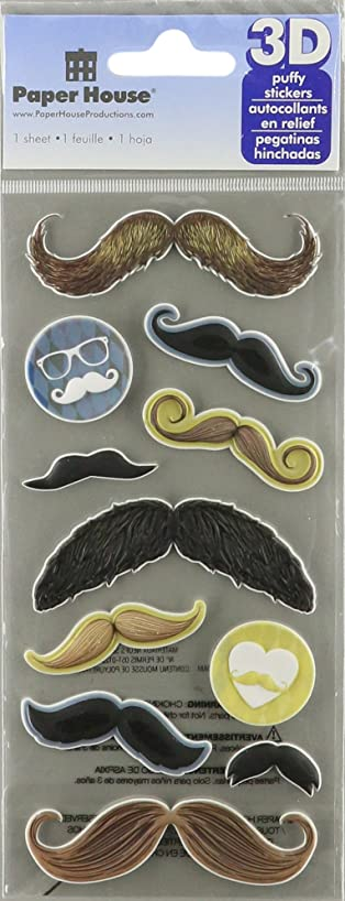 Paper House Productions STP-0011E Embossed Puffy Stickers, Mustaches (3-Pack)
