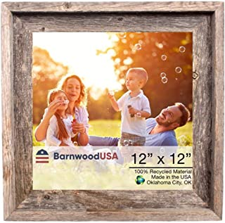 BarnwoodUSA Rustic Farmhouse Signature Picture Frame - Our 12x12 Picture Frame can be Mounted Horizontally or Vertically and is Crafted from 100% Recycled and Reclaimed Wood   No Assembly Required