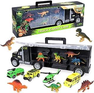 SUPREX 16 Inch Dinosaur Transport Truck Carrier Toy 14 Piece, 9 Educational Realistic Dinosaur Figures, 3 Matchbox Cars, 1...