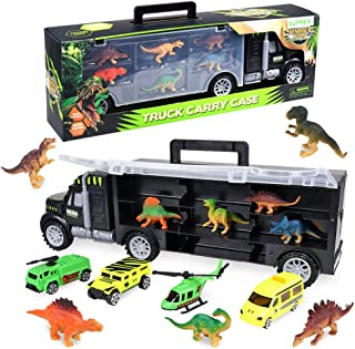 SUPREX 16 Inch Dinosaur Transport Truck Carrier Toy 14 Piece, 9 Educational Realistic Dinosaur Figures, 3 Matchbox Cars, 1 Helicopter, Dinosaur Toy for Boys, Gift for Kids Children Girls Ages 3+