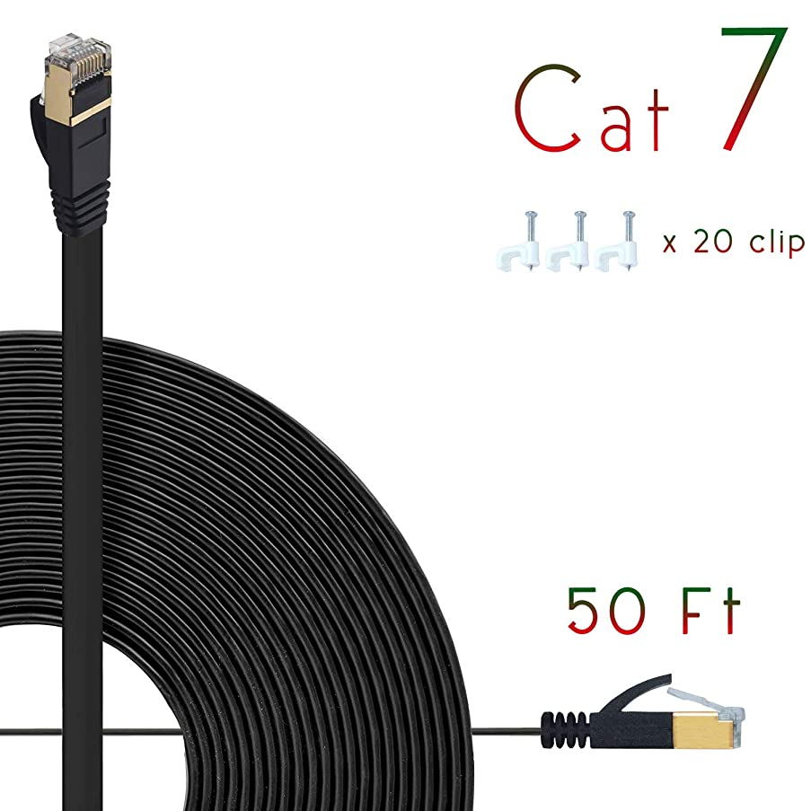 Cat7 Ethernet Cable 50ft Flat High Speed Shielded (STP) Solid Computer Network Cord with Snagless Rj45 Connectors Slim Durable Internet LAN Wire for Modem,Router.Faster Than Cat5e/Cat5/cat6 (Black)