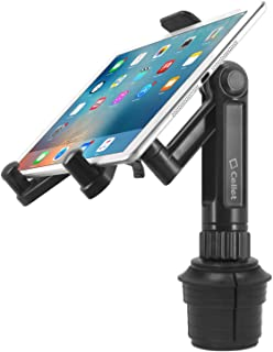 Cellet Universal 360 Adjustable Cup Holder Tablet Automobile Mount Cradle Compatible with Apple IPad Pro 12.9, Air 2019 IPad Mini 4, Samsung Galaxy Tab S6 S4 S5e A 8.0 10.1 Surface Go Pro 6 Fire HD 10