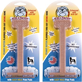 Bullibone Nylon Dog Chew Toy Large Nylon Bone - Improves Dental Hygiene, Easy to Grip Bottom, and Permeated with Flavor