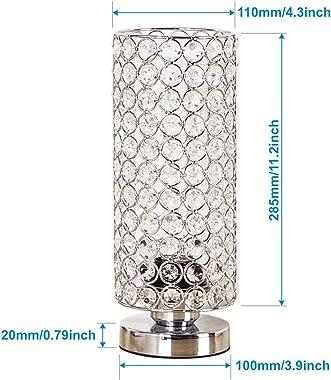 ZEEFO Crystal Table Lamp, Nightstand Decorative Room Desk Lamp, Night Light Lamp, Table Lamps for Bedroom, Living Room, Kitch