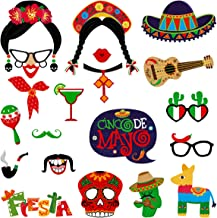 Amosfun 20pcs Mexican Photo Booth Props Funny Fiesta Party Photo Booth Props Mexican Carnival Theme Party Supplies for Birthday Wedding Bachelorette Fiesta Hawaii Party Decorations