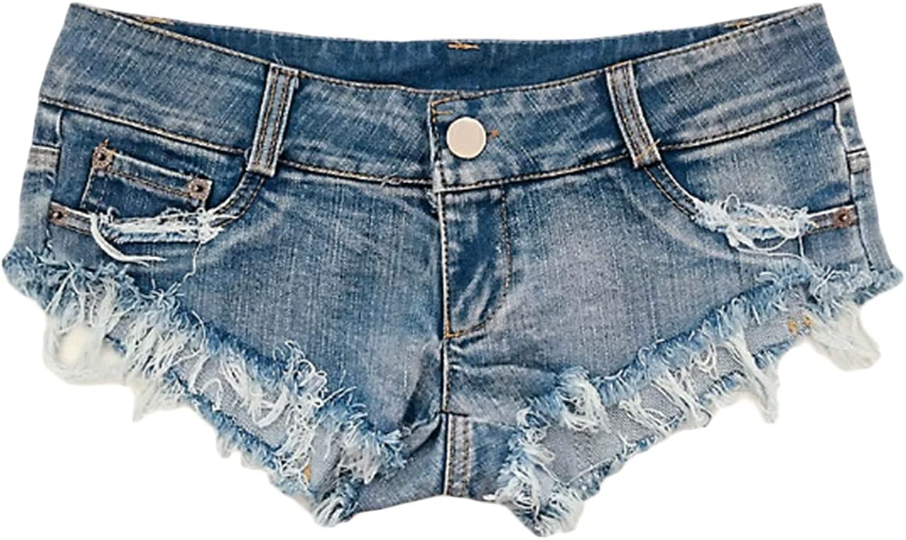 Women's Low Rise Ripped Hole Pant Denim Shorts Sexy Frayed Raw Hem Short Jean Pants Hipster Mini Hot Pants Short (Blue,X-Large)