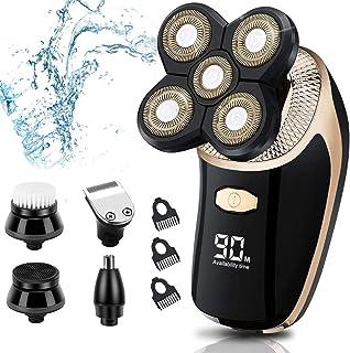 ماكينة حلاقة كهربائية للرجال، 5 في 1 قابلة لإعادة الشحن عن طريق USB وماكينة حلاقة 4D للرجال الجافة والرطبة والمقاومة للماء...