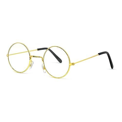 844459de2f Big Mo s Toys Gold Rimmed Round Costume Glasses - 1 Pair