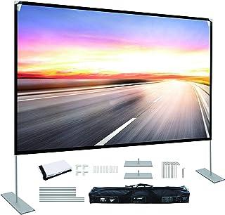 شاشة عرض مع حامل 100 بوصة شاشة عرض محمولة 16: 9 4K HD خلفية البروجيكتس شاشة لأفلام المسرح المنزلي في الفناء الخلفي للسينما