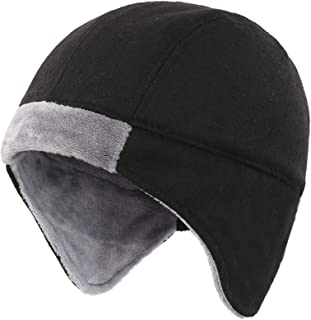 Mens Fleece Lined Thermal Skull Cap Beanie with Ear Covers Winter Hat